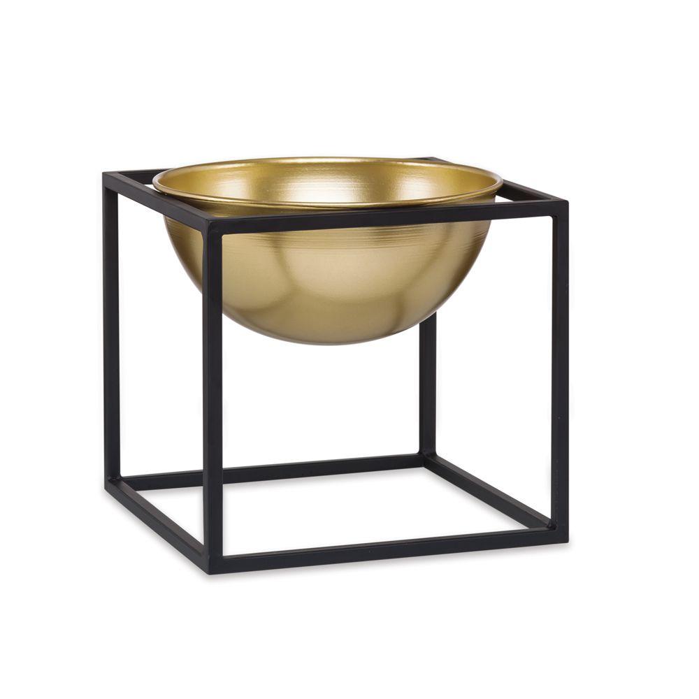 Kit Cachepot Dourado em Metal com Suporte - 3 Pçs