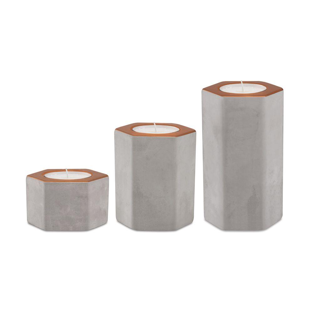 Kit Porta-Velas em Cimento
