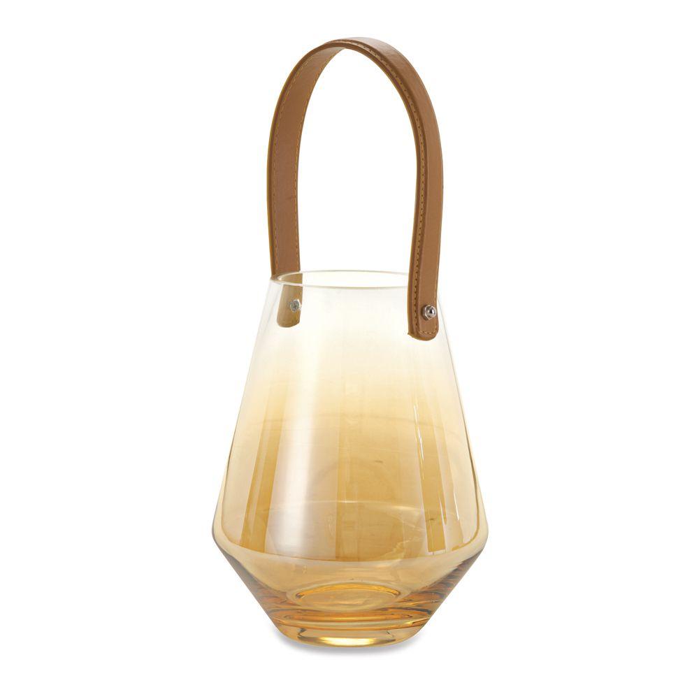 Lanterna Champanhe Níquel em Vidro 17x21,5cm