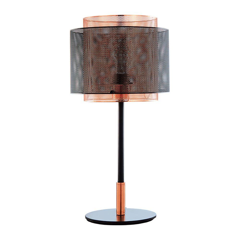 Luminária de Mesa em Metal Preto e Cobre
