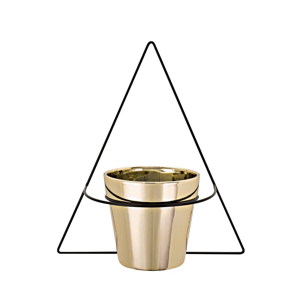Vaso Dourado em Cerâmica com Suporte de Parede