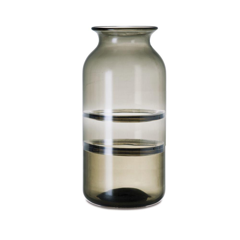 Vaso Fumê/Marrom em Vidro 15,5x30,5cm