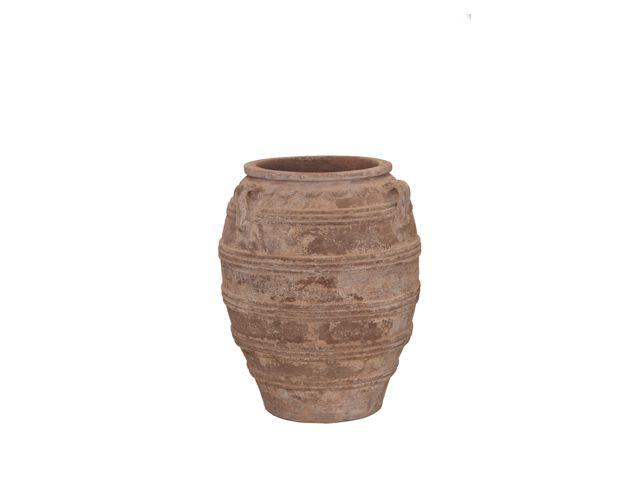 Vaso Vietnamita Redondo C/3 Alças em Terracota 62x79cm