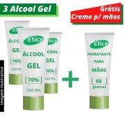 Álcool Gel 70% 250G 3 un + CREME HIDRATANTE 60g