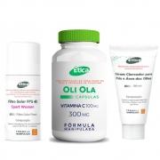 Kit Oli Ola 300mg  60 Doses + Sérum Clareador e Filtro Solar FPS 45 com vitaminas