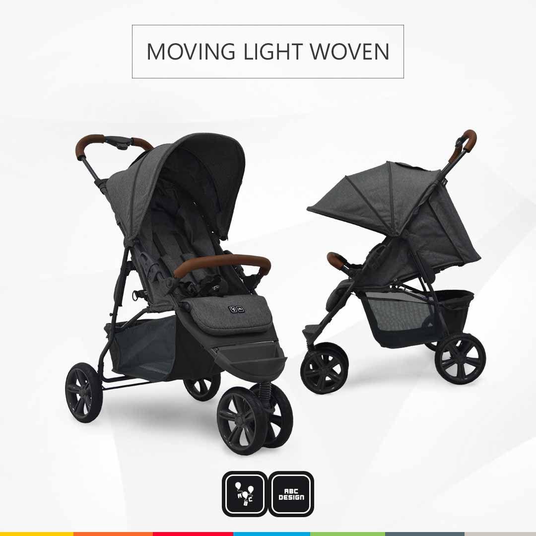 CARRINHO BEBE MOVING LIGHT WOVEN (GRAFITE) COURO -ABC DESIGN