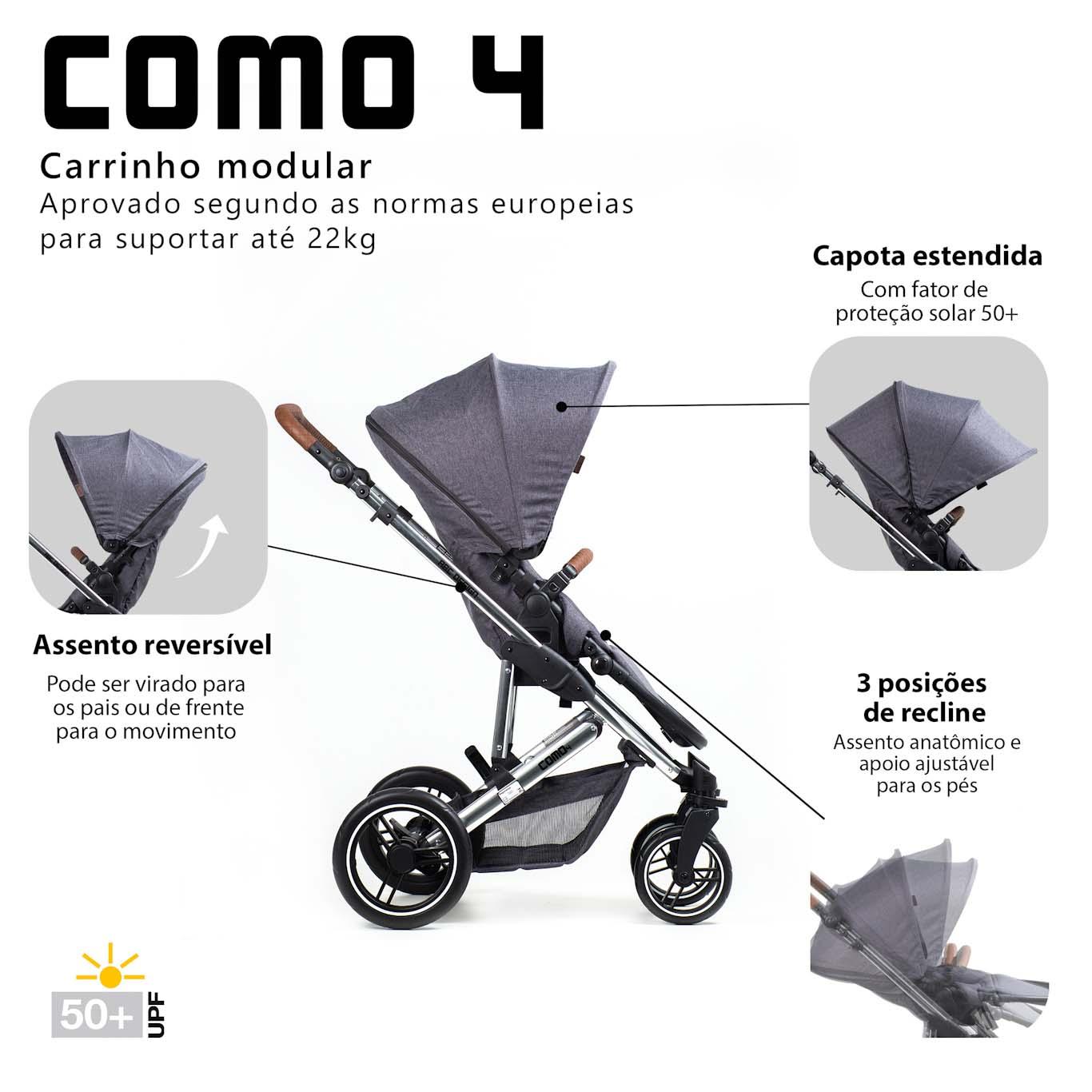 CARRINHO COMO4 DIAMANTE ASPHALT + MOISÉS, BOLSA - ABC DESIGN