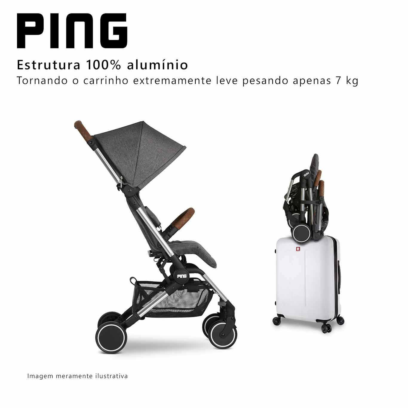 CARRINHO PARA BEBE PING DIAMOND ASPHALT - ABC DESIGN