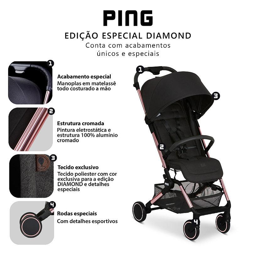 CARRINHO PARA BEBE PING ROSE GOLD - ABC DESIGN