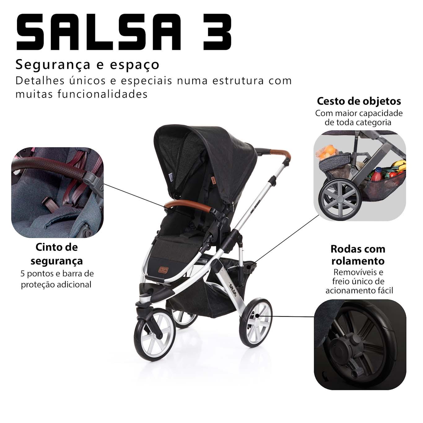 CARRINHO SALSA 3 + BEBE CONFORTO TULIP - PIANO - ABC DESIGN