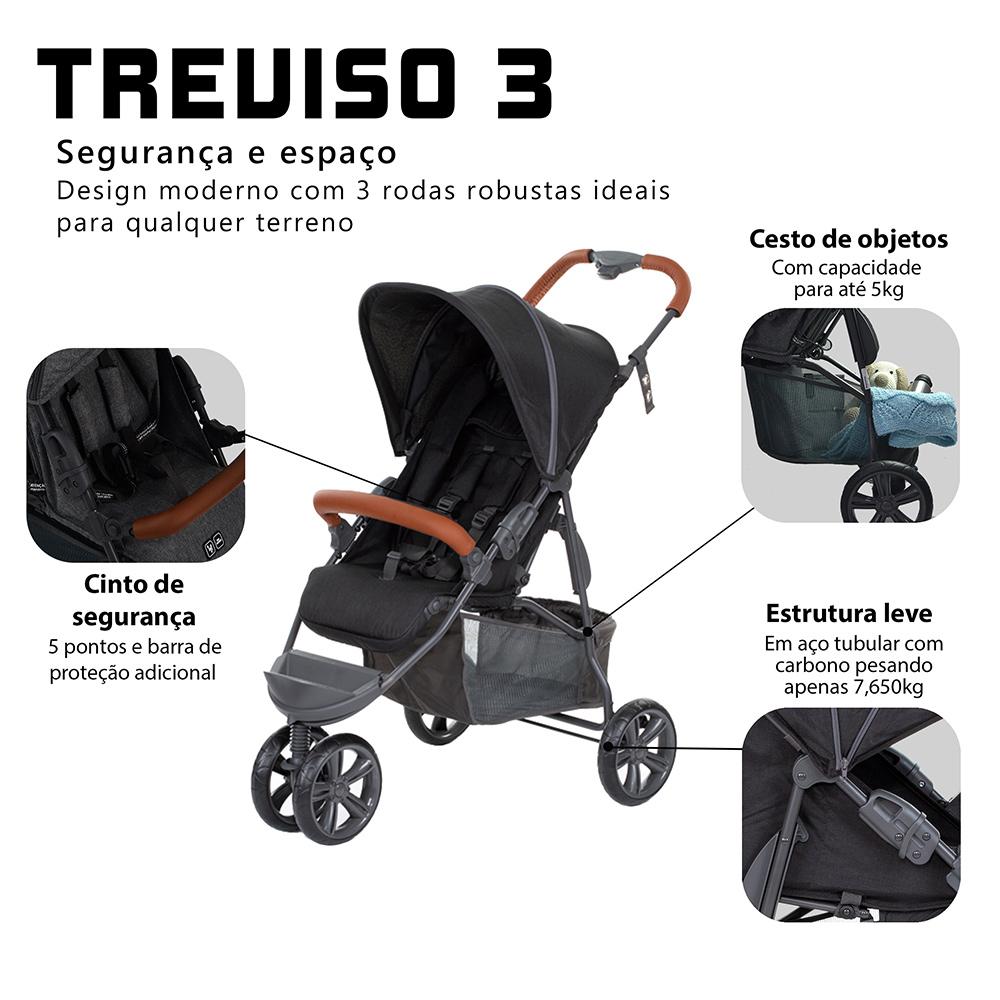 CARRINHO TREVISO 3 (MOVING) WOVEN BLACK C COURO - ABC DESIGN