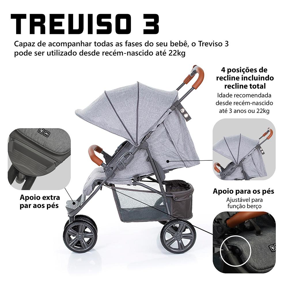 CARRINHO TREVISO 3 (MOVING) WOVEN GREY C/ COURO - ABC DESIGN