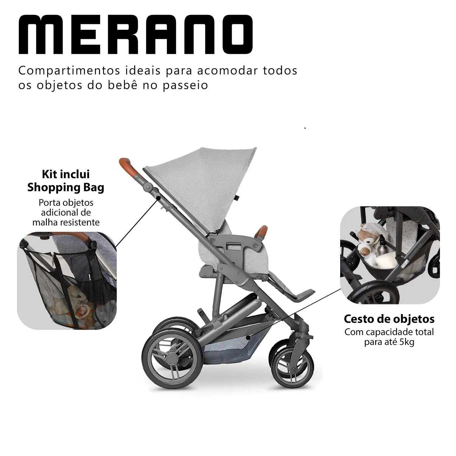 TRAVEL SYSTEM TRIO MERANO C/SHOP BAG- WOVEN GREY -ABC DESIGN