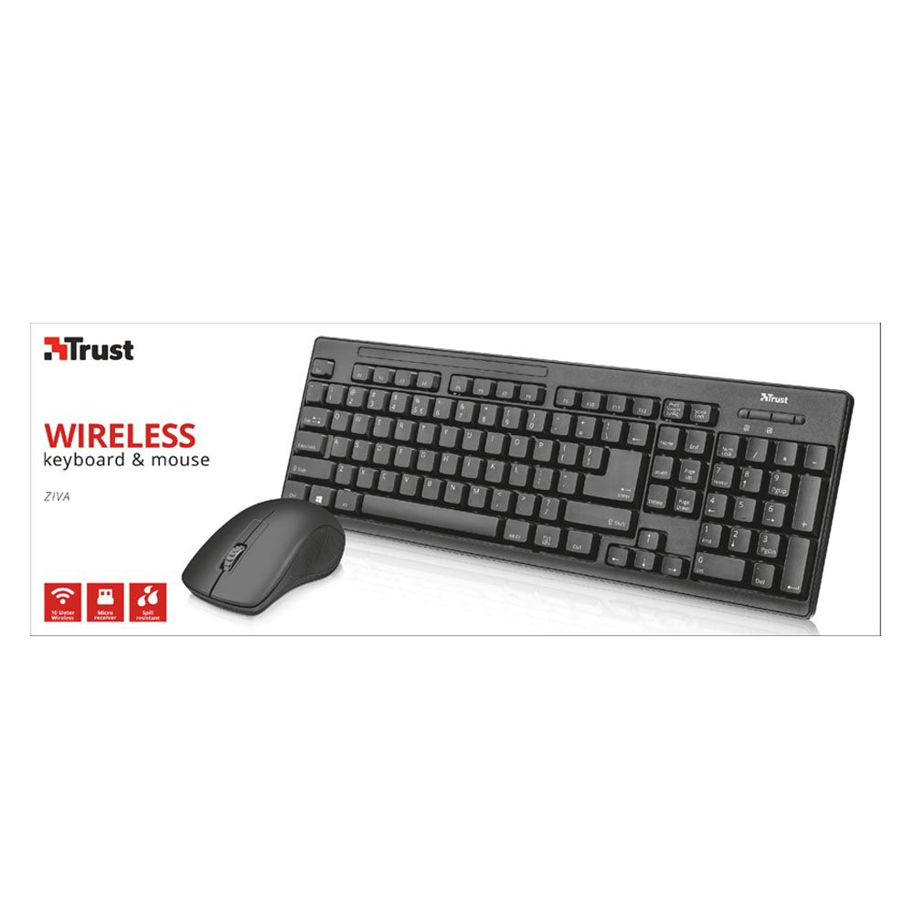 Combo Mouse e Teclado Wireless Trust Ziva