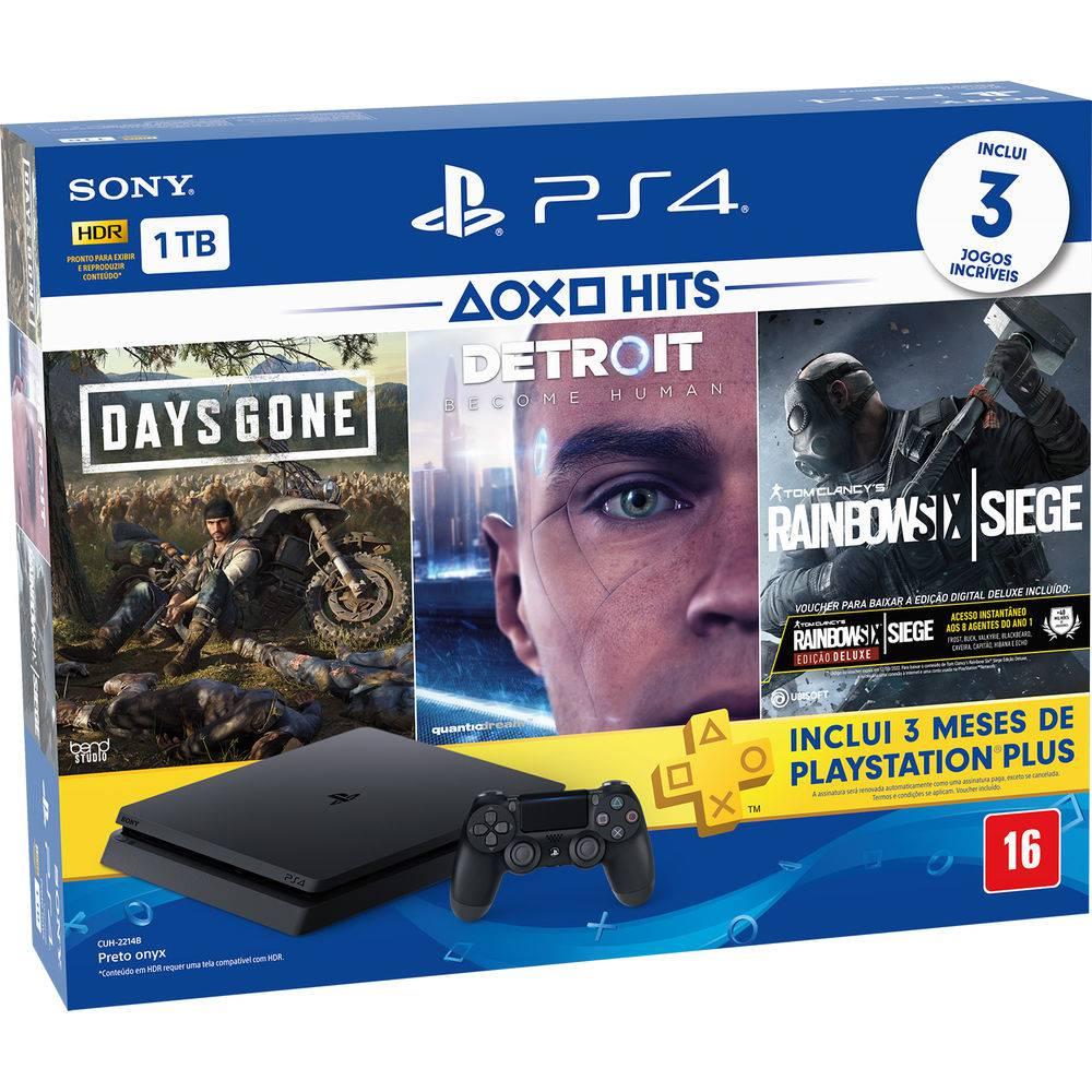 Console Playstation 4 Slim 1TB Hits Bundle 5ª Geração + 3 jogos - Sony