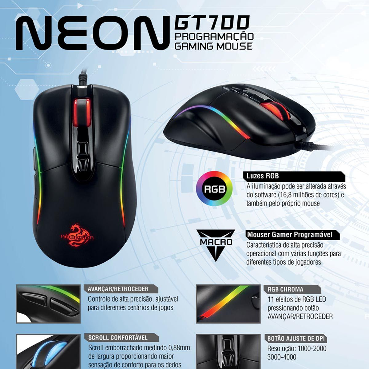 Mouse Gamer Programável Neon Gt700 Hoopson