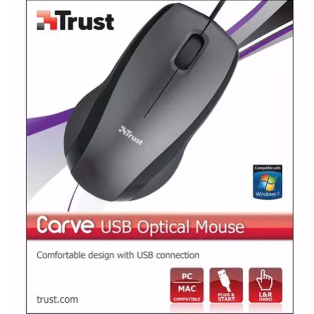 Mouse Óptico Usb Preto Carve - Black