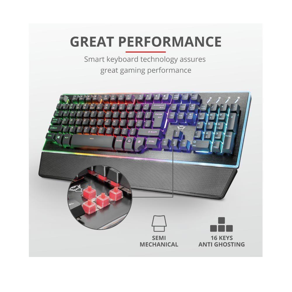 Teclado Gamer Semi Mecânico RGB Trust Gxt 860
