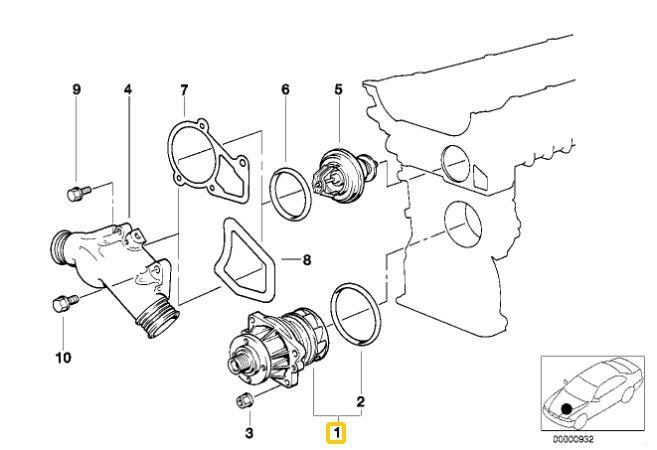 Bomba de água BMW 325 328 330 323 320 1991 a 2005; X3 2003 a 2006; 525 528 530 1990 a 2006; X5 3.0 2000 a 2003; Z3 28i 1996 a 2002; Z4 2.2 2.5 e 3.0 2002 a 2006; M3 1994 e 1995 americana