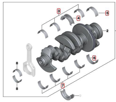 Bronzina de mancal STD BMW 320 318 2006 a 2012; 120 118 2005 a 2011; X1 18i 2008 a 2015; X1 20i 2008 a 2013