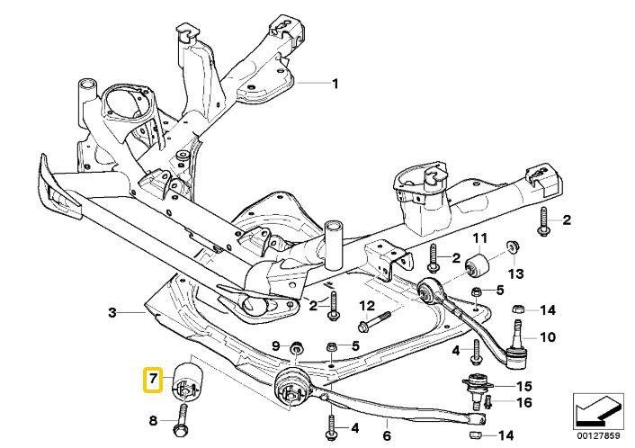 Bucha do braço curvo BMW X5 2000 a 2006; BMW X3 2003 a 2010