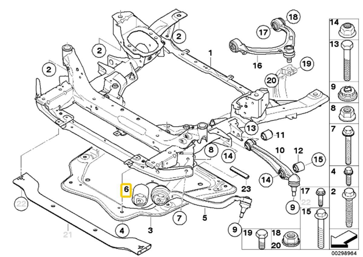 Bucha do braço curvo BMW X5 X6 2007 a 2018