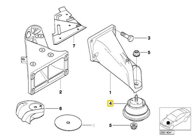 Coxim de motor BMW 325 328 330 323 320 1991 a 2005; Z3 28i 1996 a 2002; Z4 2.2 2.5 e 3.0 2002 a 2006