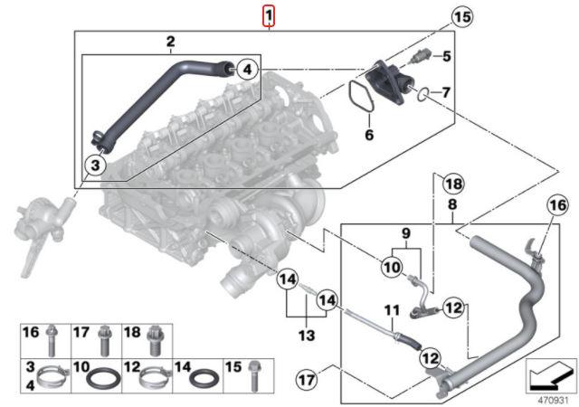 Flange traseira do cabeçote BMW 118 116 2012 a 2018; 316 2013 a 2019; Motor N13
