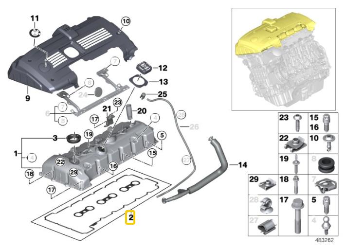 Junta da tampa de válvulas BMW 325 330 2006 a 2011 E90; 130 2006 a 2011; 530 2006 a 2010; X1 28i 2008 a 2015; X3 2.5 e 3.0 2006 a 2008; X5 3.0 2006 a 2010; Z4 30i 2006 e 2007; Motor N52N