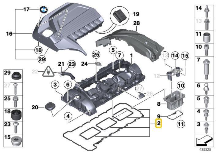 Junta da tampa de válvulas BMW 335 135 2010 a 2015; 535 2009 a 2017; X3 35i 2010 a 2017; X4 35i 2013 a 2018; X5 35i 2012 a 2018; X6 35i 2010 a 2019; M3 2012 a 2018; M4 2013 a 2019