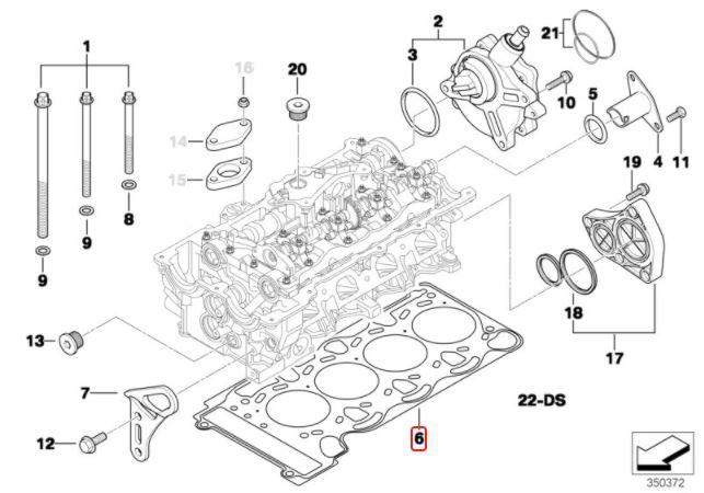 Junta de cabeçote BMW 320 318 2008 a 2012; 120 118 2008 a 2011; X1 20i 2008 a 2013; X1 18i 2008 a 2015; Z4 20i 2006 a 2008; Motor N46N