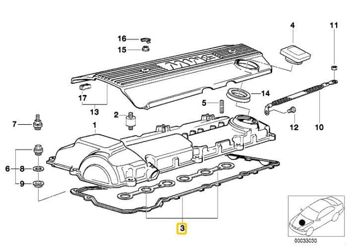 Junta de tampa de valvulas BMW 325 1993 a 1995 M3 americana 1995 Original