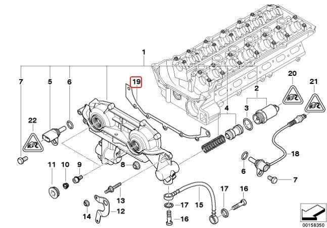 Junta do VANOS BMW 330 328 323 325 320 1998 a 2003 E-46;X3 2003 a 2006; X5 3.0 2000 a 2003; 530 2000 a 2006; Z4 2002 a 2005; Motores M52tu M54
