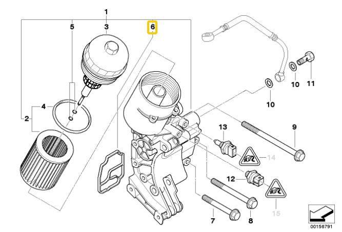 Junta suporte do filtro de óleo BMW 325 328 323 320 330 X5 3.0 X3 2.5 3.0 1991 a 2004 Original