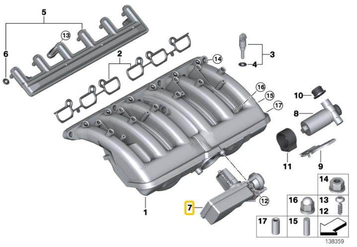 Kit de reparo válvula DISA BMW 325 e 320 de 1999 a 2005; X3 2.5 2003 a 2006; motor M54 2.2 e 2.5