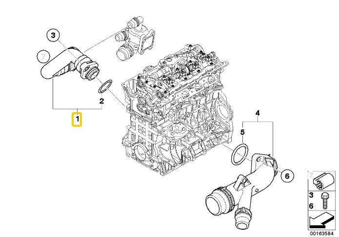 Mangueira do cabeçote para a válvula termostática BMW 320 318 2006 a 2012; 120 118 2005 a 2011; X1 18i 2008 a 2015; X1 20i 2008 a 2013; Z4 20i 2005 a 2008; Motor N46N e N46
