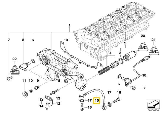 Mangueira do Vanos BMW 325 328 323 325 330 320 1993 a 2005; M3 1994 e 1995; X3 2.5 e 3.0 2003 a 2006; X5 3.0 2000 a 2003; 528 530 1996 a 2003; Z3 2.8 3.0 1996 a 2002; Z4 3.0 2002 a 2006
