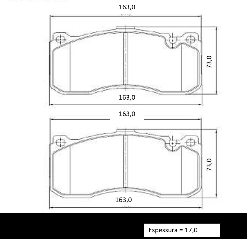 Pastilha de freio dianteira BMW 318 320 325 330 2006 a 2012; 118 120 130 2005 a 2011