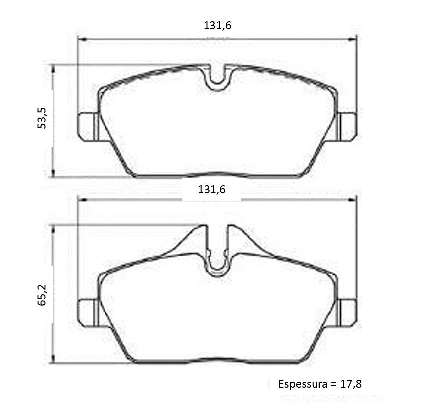 Pastilha de freio dianteira BMW 320 318 2006 a 2012; 118 120 2005 a 2011