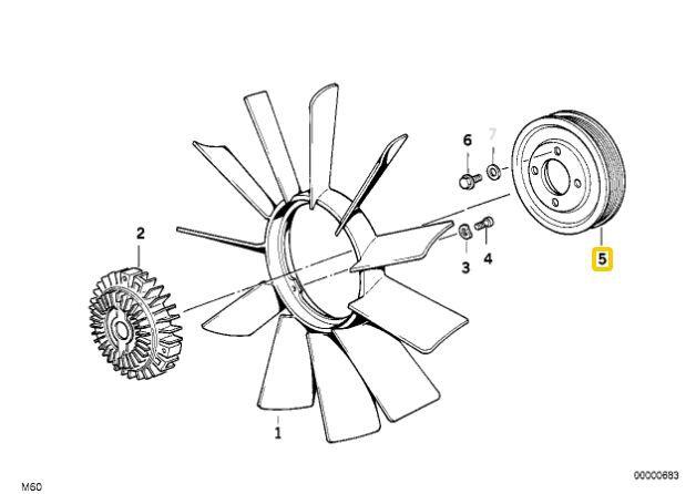 Polia da bomba de água BMW 325 328 323 1991 a 1998 E36; 525 528 1991 a 1998; Z3 2.8 1996  1999