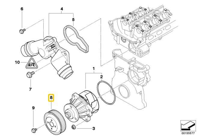 Polia da bomba de água BMW 328 330 323 325 320 1998 a 2005 E46; X3 2003 a 2005; X5 3.0 2000 a 2003; 530 1999 a 2005; Z3 2.8 3.0 1999 a 2002; Z4 2.2 2.5 3.0 2002 a 2005