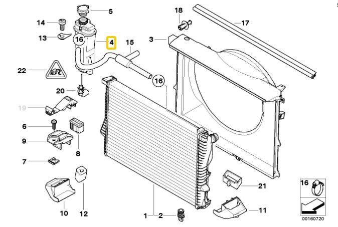 Reservatório radiador BMW 540 1996 a 2003; 740 750 1994 a 2001; 840 850 1990 a 1999