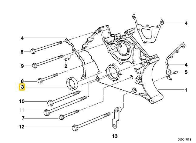 Retentor frontal virabrequim BMW 540 1991 a 2003; X5 4.4 4.6 2000 a 2003; 740 840 1991 a 2001; M3 1994 a 1998; Z3M 1997 a 2000; 530 V8 1991 a 1995; Motores M60 M62 S50 S52