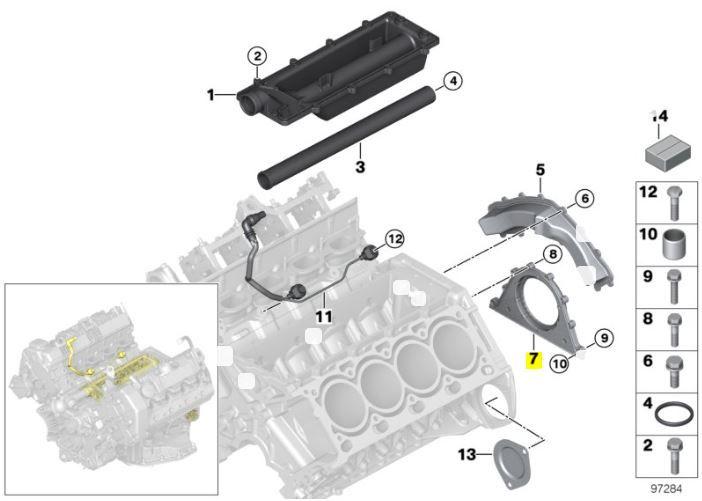 Retentor traseiro do virabrequim BMW 540 545 550 2004 a 2009; X5 4.4 4.8 2004 a 2010; 645 650 2003 a 2010; Motores N62 e N62N