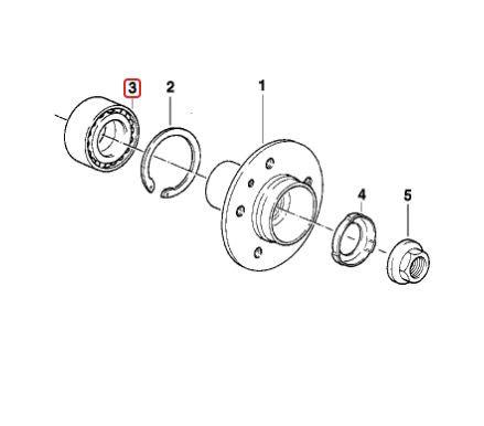 Rolamento de roda traseira BMW 318ti Compact 1994 a 1999 E36; Z3 1.8 e 1.9; 316 318 320 323 325 1981 a 1990 E30