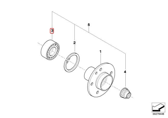 Rolamento de roda traseiro BMW 325 323 328 320 318 1991 a 2005; Z3 1996 a 2002; Z4 2003 a 2008