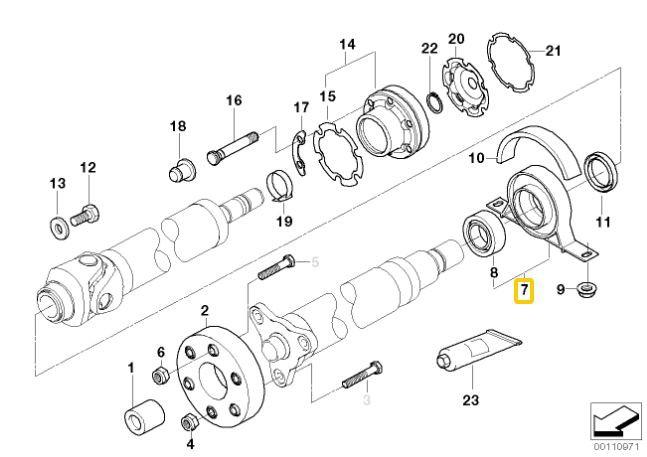 Rolamento do Cardan BMW 328 330 325 320 323 1998 a 2005 E46; Z4 2002 a 2008