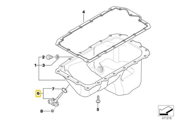 Sensor de nível de óleo BMW 320 318 2006 a 2012; 120 118 2005 a 2011; X1 18i 2008 a 2015; X1 20i 2008 a 2013; Z4 20i 2006 a 2008; Motor N46 e N46N