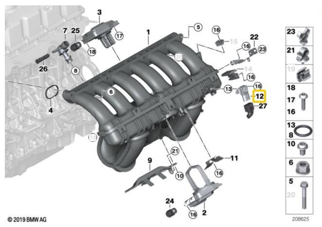 Sensor MAP BMW 320 318 325 330 2006 a 2012; 120 118 130 2005 a 2011; X1 18i 28i 2008 a 2015; X3 2006 a 2010; 530 2006 a 2010;  X5 3.0 2007 a 2010; Z4 2.0 3.0 2006 a 2008; Motor N46 e N52