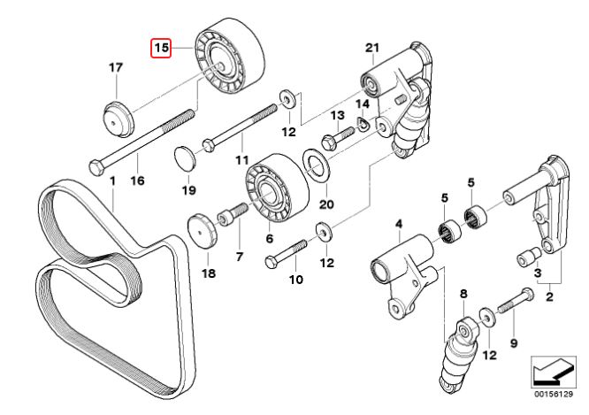 Tensor correia BMW 325 328 330 323 330 320 318 1991 a 2005; X5 3.0 2000 a 2003; 528 530 1996 a 2006; X3 2003 a 2006; Z3 1.8 e 2.8; Z4 2.5 e 3.0 excêntrico